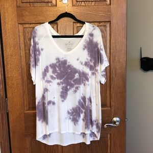 AE Soft & Sexy Plum & White Tie Dyed Tee NWOT